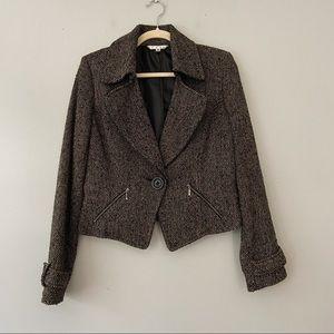 Cabi Tweed Wool Blend Tan Black Career Blazer